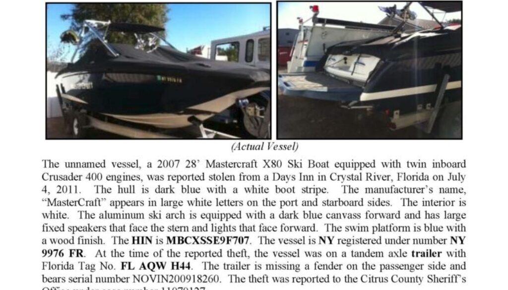 6275-11 Stolen Boat Notice - 28' Mastercraft X80