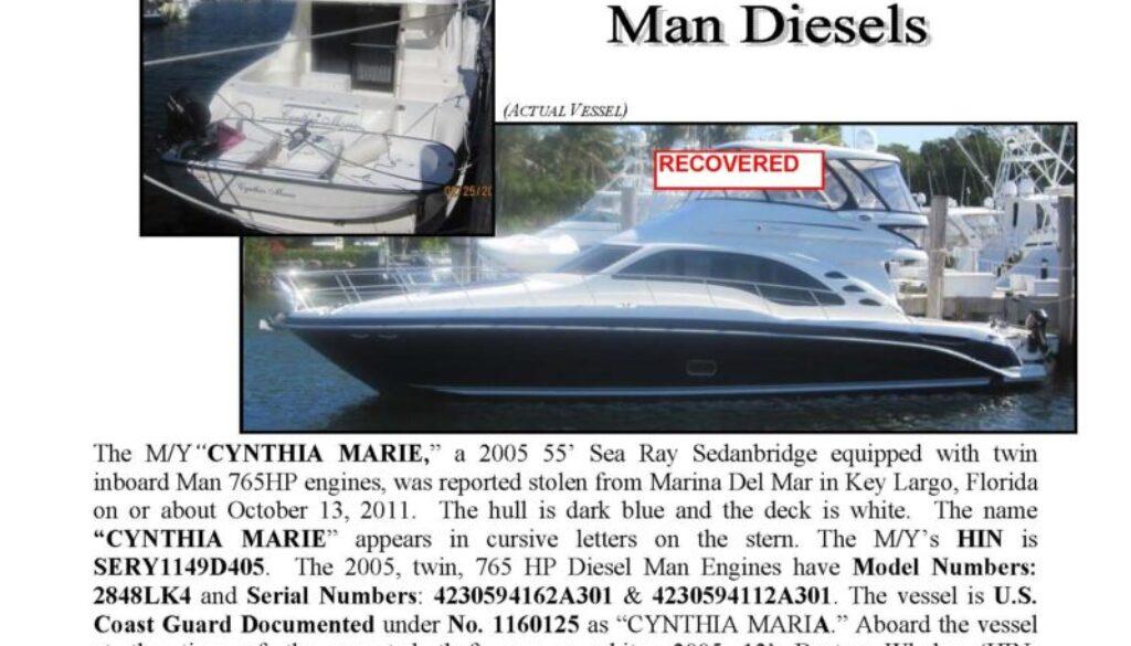 6292-11 Stolen Boat Notice - 55' Sea Ray