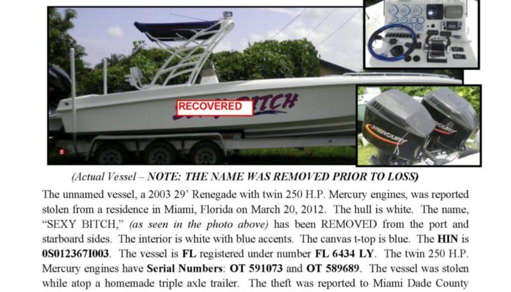 6324-12 Stolen Boat Notice - 29' Renegade