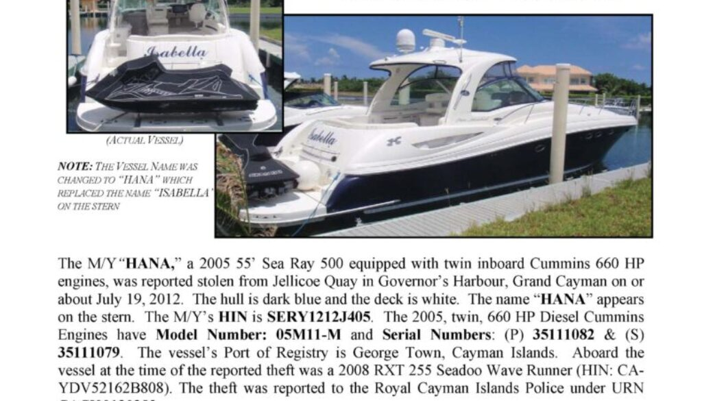 6354-12 Stolen Boat Notice - 55' Sea Ray