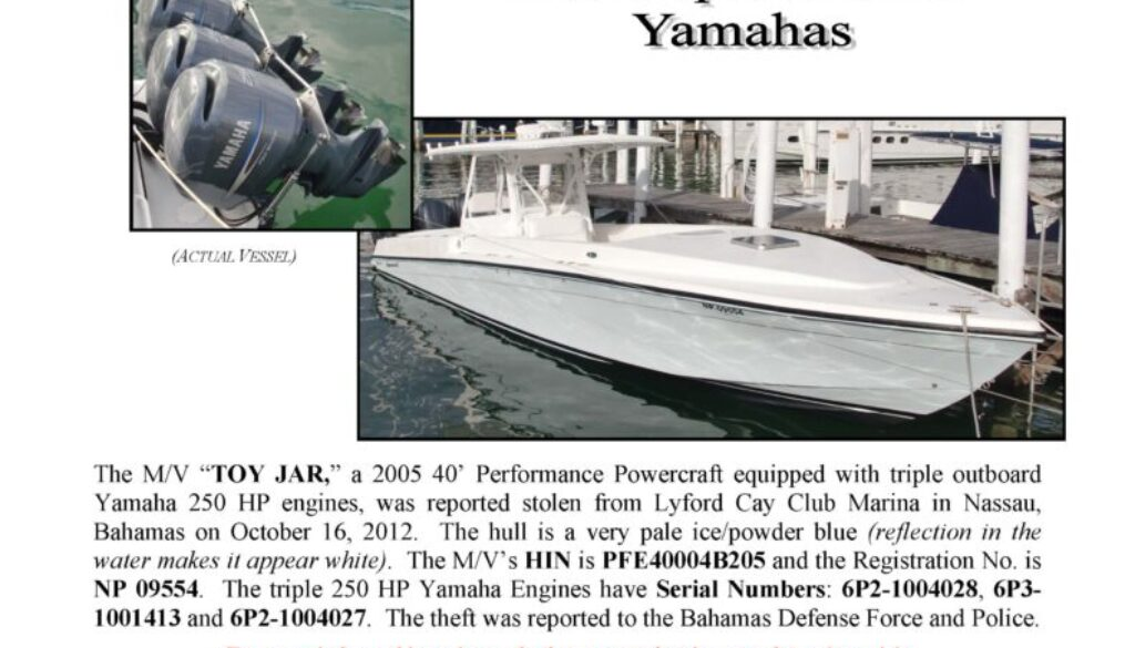 6366-12 Stolen Boat Notice - 40' Powercraft