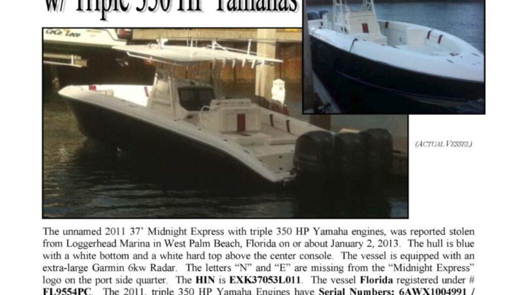 6379-13 Stolen Boat Notice - 37' Midnight Express