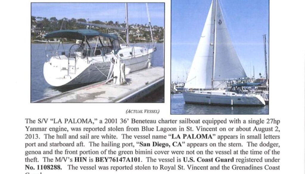 6419-13 Stolen Boat Notice - 36' Beneteau Sailboat