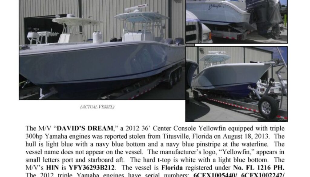 6424-13 Stolen Boat Notice - 36' Yellowfin