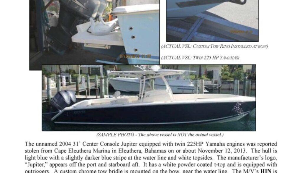 6438-13 Stolen Boat Notice - 31' Jupiter