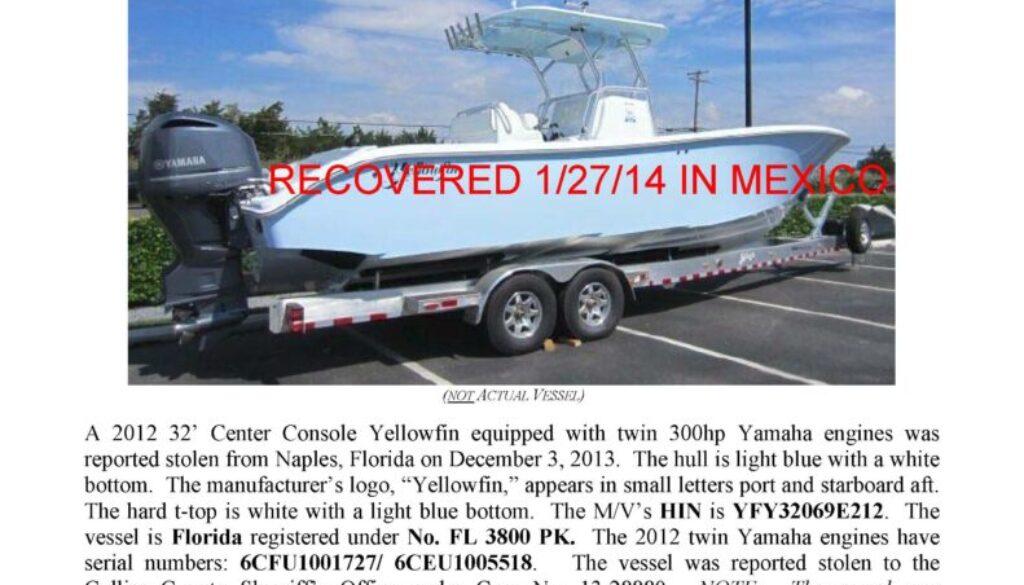 6444-13 Stolen Boat Notice - 32' Yellowfin