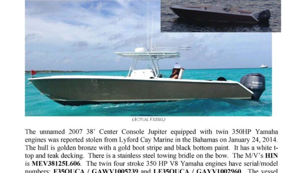 6462-14 Stolen Boat Notice - 38' Jupiter
