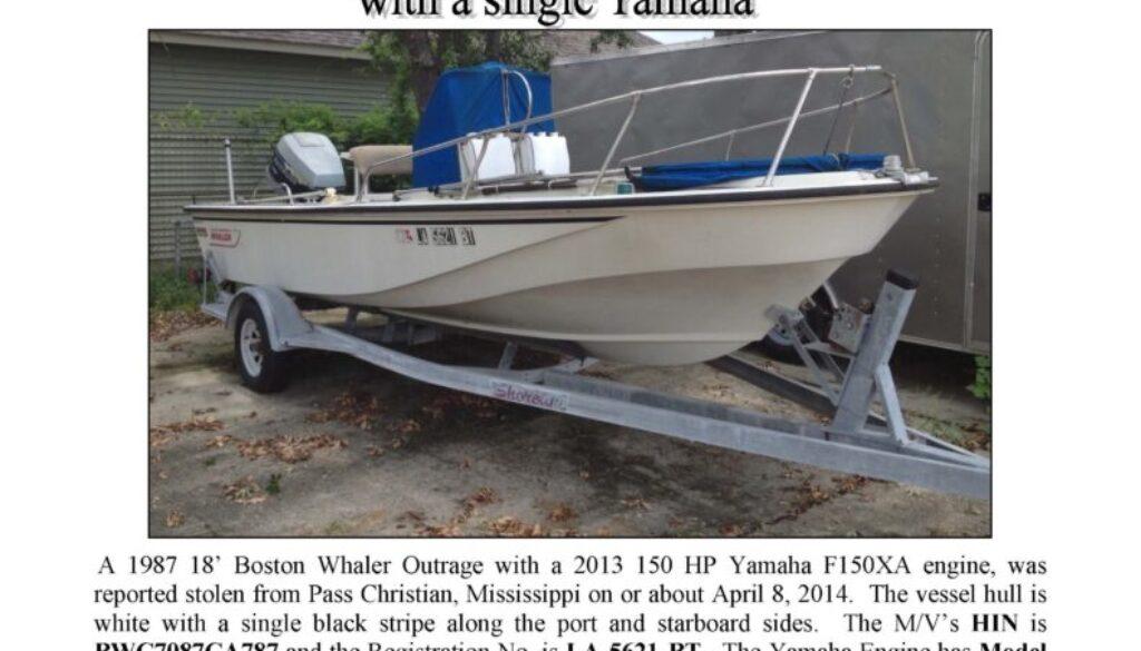 6480-14 Stolen Boat Notice - 18' Boston Whaler