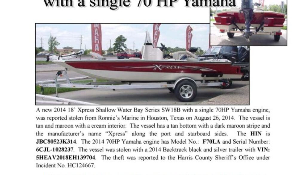 6513-14 Stolen Boat Notice - 18' Xpress
