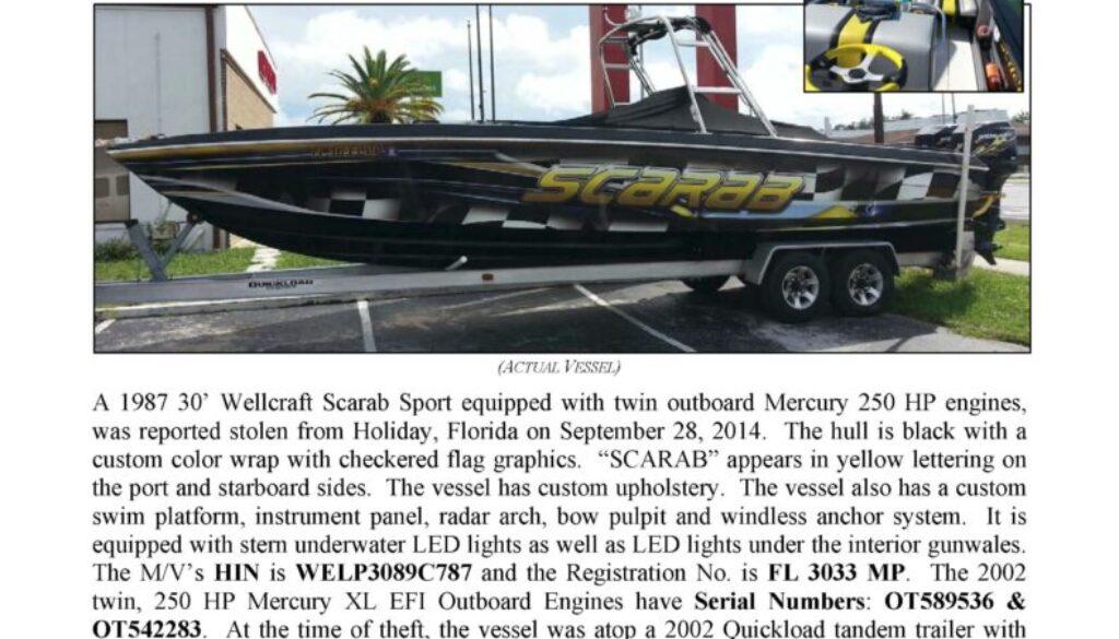 6526-14 Stolen Boat Notice - 30' Wellcraft Scarab