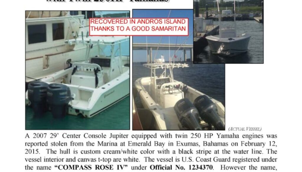 6566-15 Stolen Boat Notice - 29' Jupiter RECOVERED