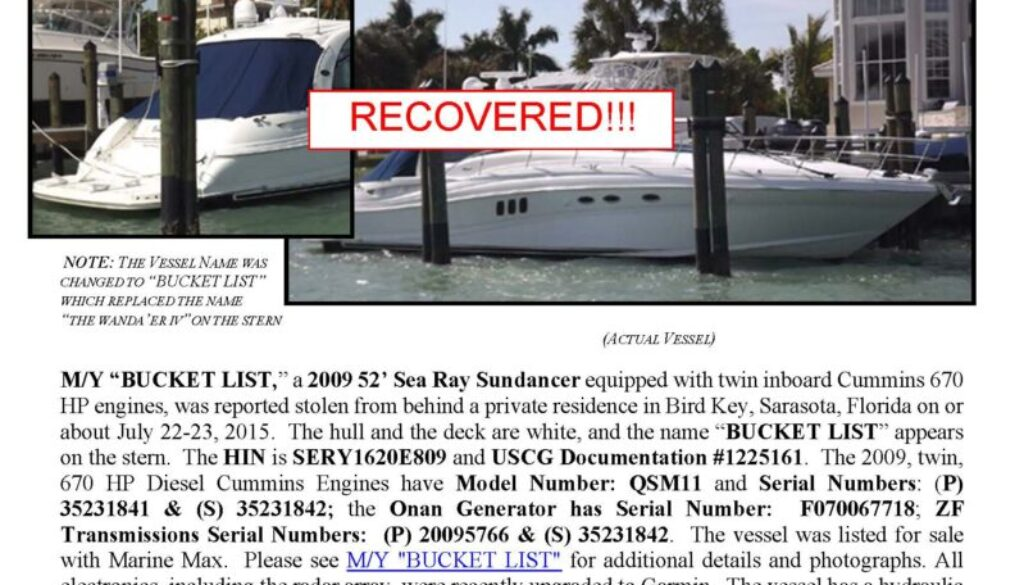 6605-15 Stolen Boat Notice - 52' Sea Ray - recovered