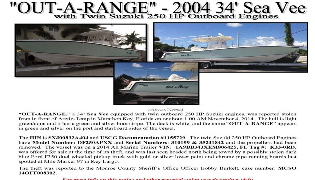 6611-15 Stolen Boat Notice - Sea Vee