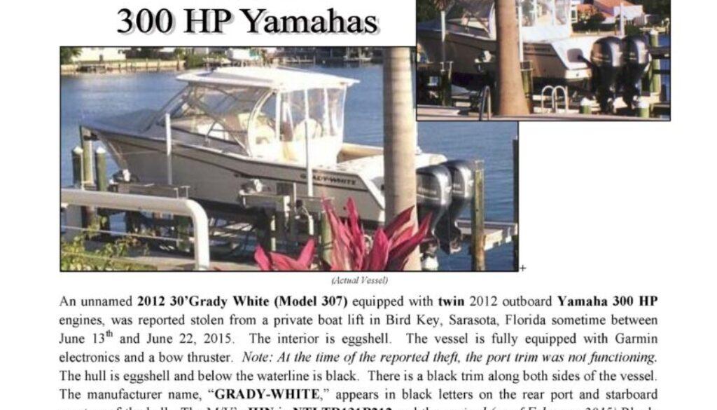 6614-15 Stolen Boat Notice - 30' Grady White