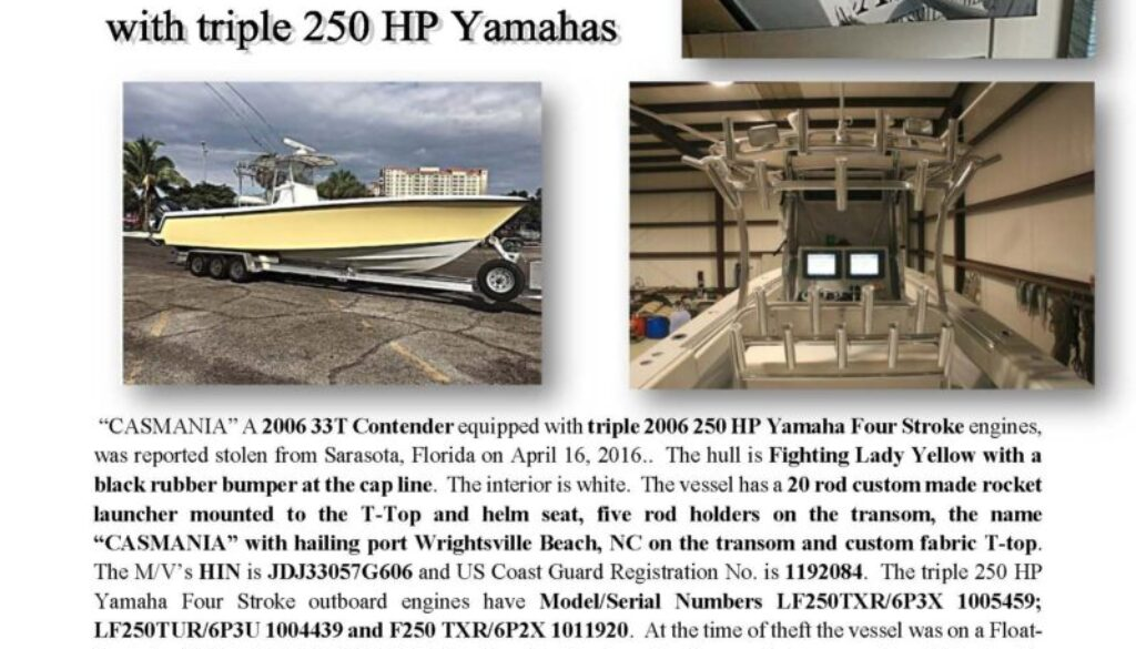 6663-16 Stolen Boat Notice - 33 Contender CASMANIA