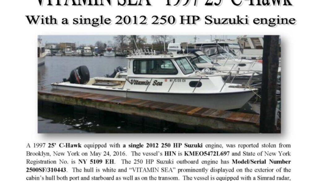 6674-16 Stolen Boat Notice - 25 C-Hawk VITAMIN SEA