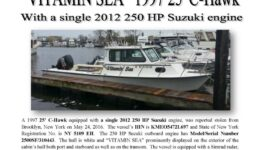6674-16 Stolen Boat Notice - 25 C-Hawk VITAMIN SEA