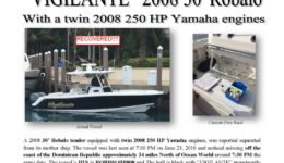 6692-16 RECOVERED Missing Boat Notice - 30 Robalo VIGILANTE