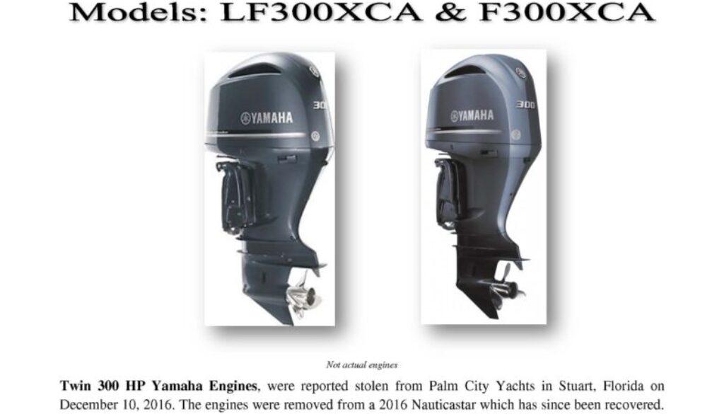 6760-16 Stolen Motor Notice - 2016 300 HP Yamaha engines