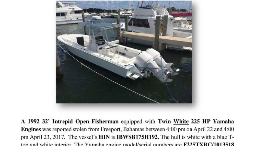 6786-17 Stolen Boat Notice -1992 32 Intrepid