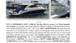 6791-17 Stolen Boat Notice -2009 43 Sea Ray