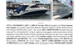 6791-17 Stolen Boat Notice -2009 43 Sea Ray