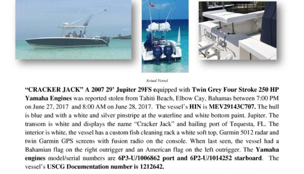 6817-17 Stolen Boat Notice -2007 29 Jupiter