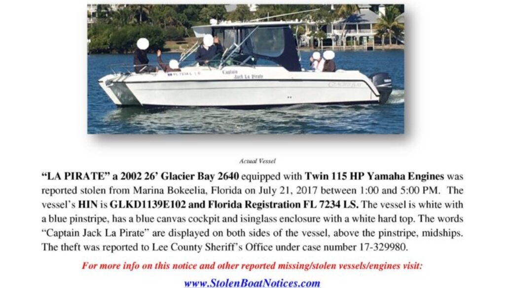 6825-17 Stolen Boat Notice -2002 26 Glacier Bay revised