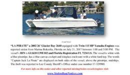 6825-17 Stolen Boat Notice -2002 26 Glacier Bay revised