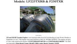 6868-17 Stolen Motor Notice - 2003 226 and 2006 250 HP Yamaha engines