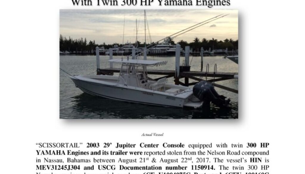 6881-17 Stolen Boat Notice -SCISSORTAIL 2003 Jupiter Center Console