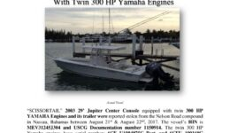 6881-17 Stolen Boat Notice -SCISSORTAIL 2003 Jupiter Center Console