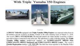 6935-18 Stolen Boat Notice -2010 36 Yellowfin