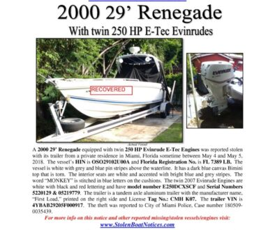 6956-18 Stolen Boat Notice Recovered - 2000 29 Renegade