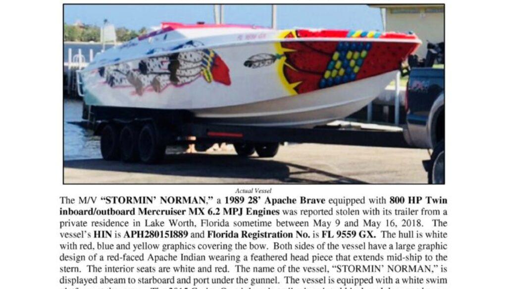 6961-18 Stolen Boat Notice - 1989 28 Apache Brave