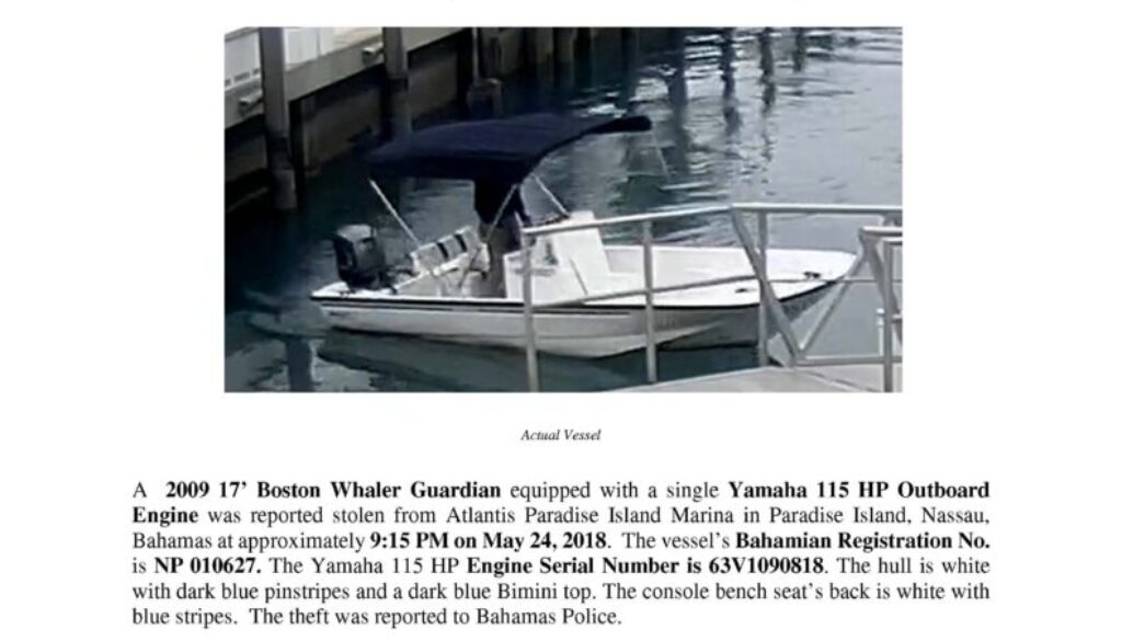 6966-18 Stolen Boat Notice - 2009 19 Boston Whaler Guardian