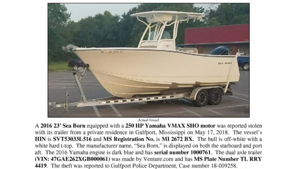 6967-18 Stolen Boat Notice - 2016 23 Sea Born