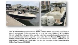 6996-18 Stolen Boat Notice - 2018 30 Chris Craft