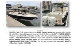 6996-18 Stolen Boat Notice - 2018 30 Chris Craft