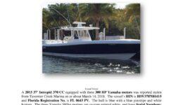 6997-18 Stolen Boat Notice - 2015 37 Intrepid