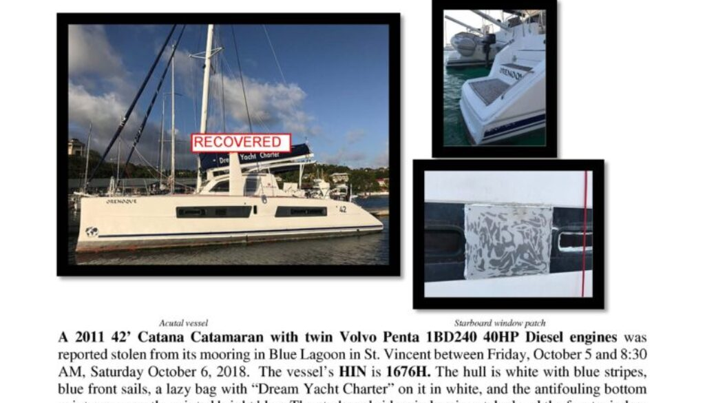 7017-18 Recovered Stolen Boat Notice -2011 42 Catana