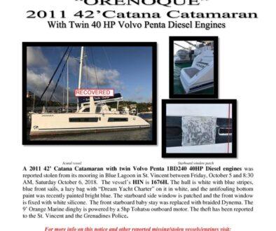 7017-18 Recovered Stolen Boat Notice -2011 42 Catana