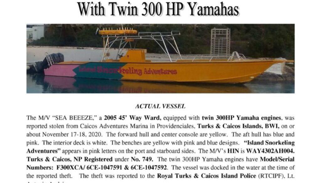 7291-20 Stolen Boat Notice - 45 Way Ward